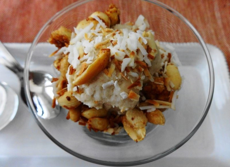 Vegan Banana Ice Cream with Toasted Coconut and Candied Peanuts