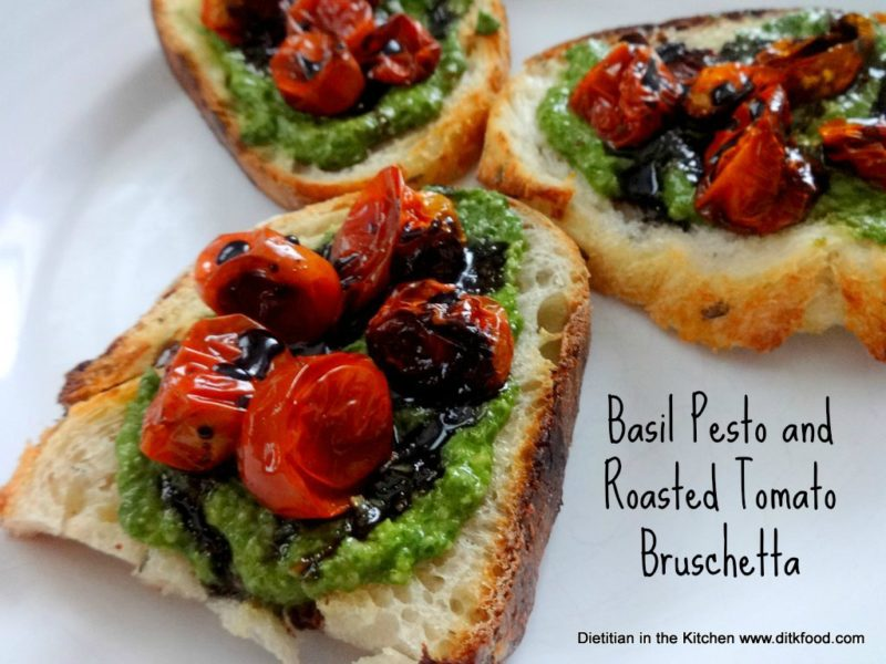 Basil Pesto and Roasted Tomato Bruschetta