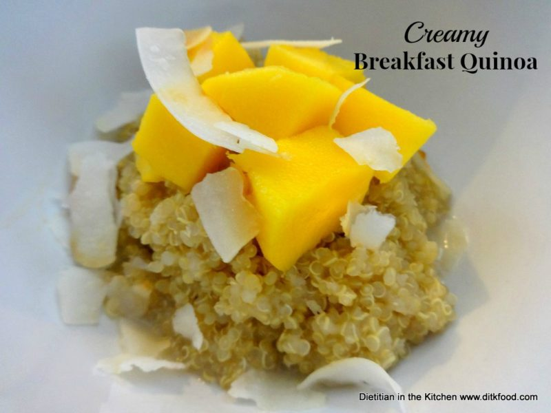 Creamy Breakfast Quinoa with Mango and Toasted Coconut