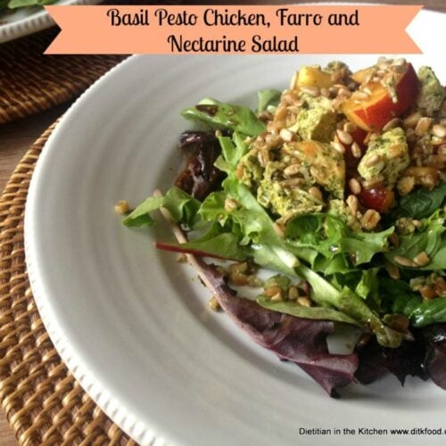 Basil Chicken, Farro and Nectarine Salad