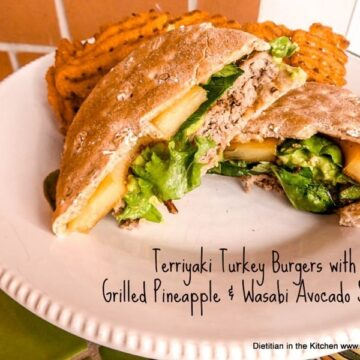 Teriyaki Turkey Burger with Pineapple and Wasabi Avocado Spread