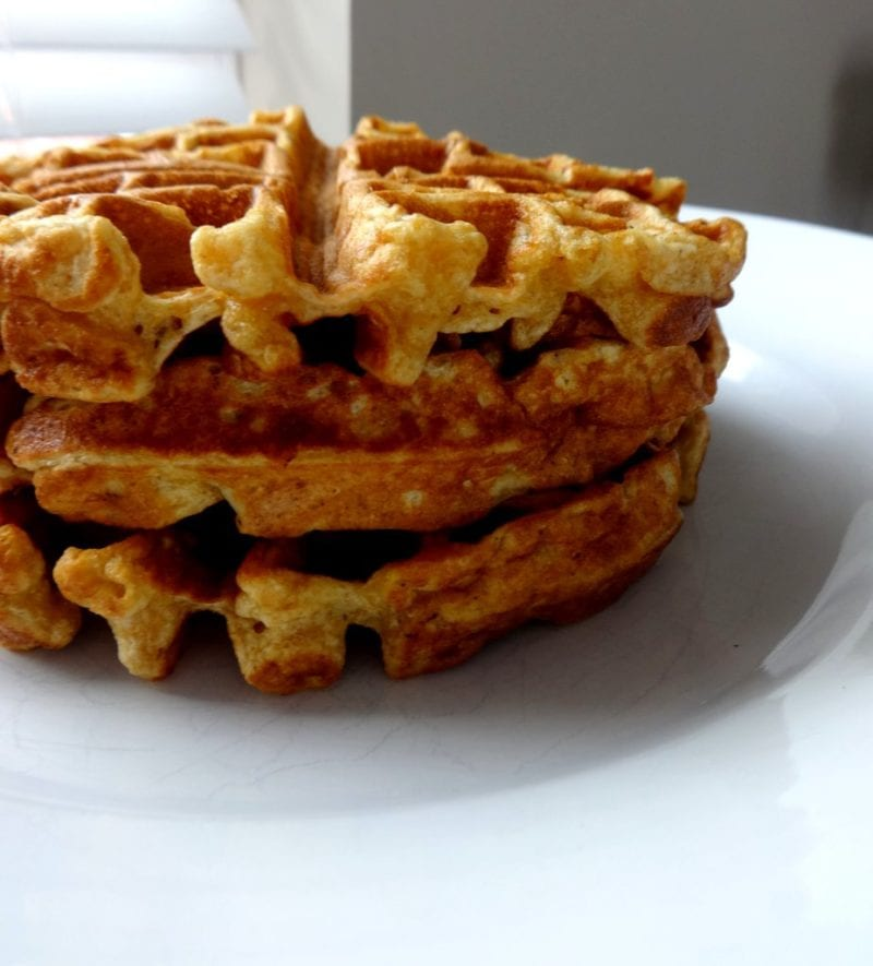 Stack of buttermilk waffles