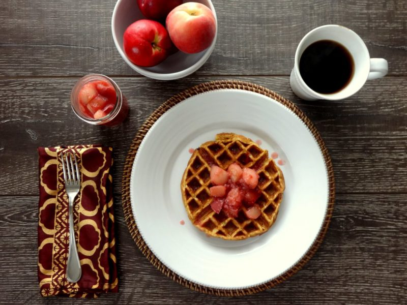 Waffles with Stone Fruit Compote