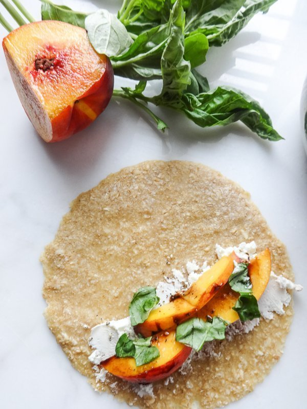 Peach and Goat Cheese Filled Oat Crepes