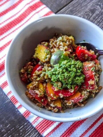 Tomato and Peach Farro Salad