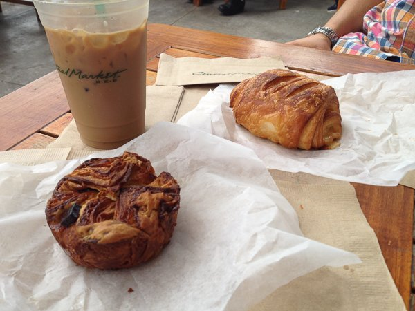 Pastries (Raspberry Croissant and Chocolate Kouign Amann) from the amazing Villag Baking Co. with Spiced Ice Coffee on the porch @ Central Market