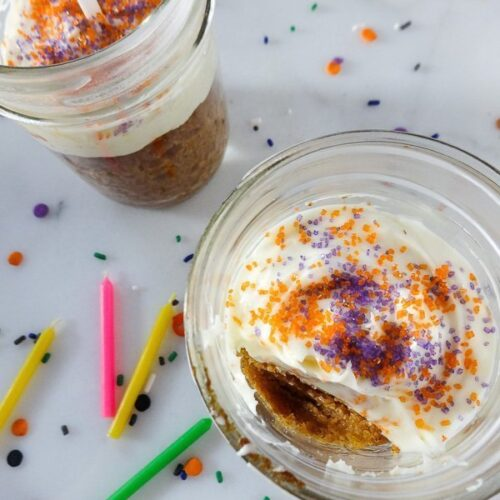 Pumpkin Birthday Cake in a Jar