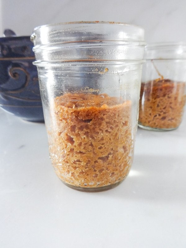 Pumpkin cake baked in a Mason jar - two servings