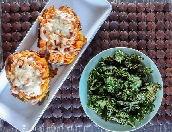 Chipotle Chicken Stuffed Sweet Potatoes with Kale Chips