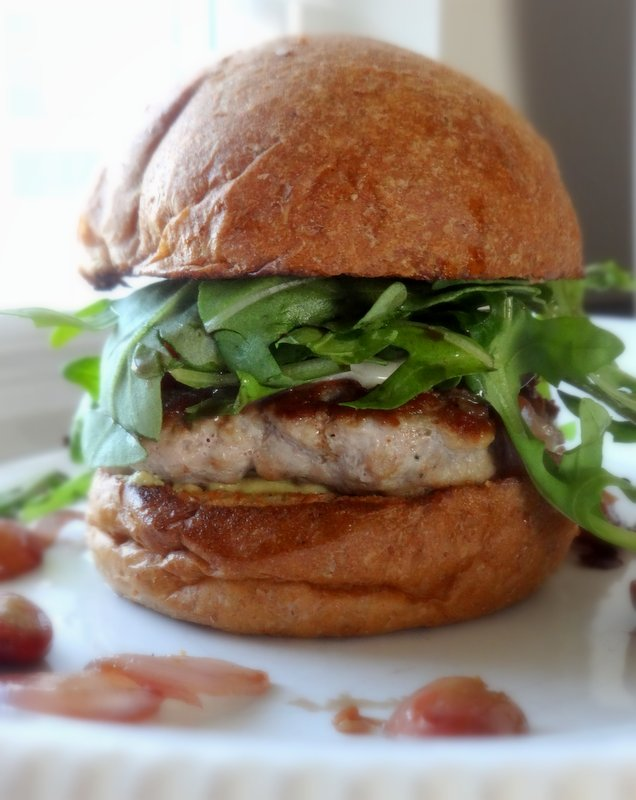 Turkey Burger with Grape Shallot Chutney