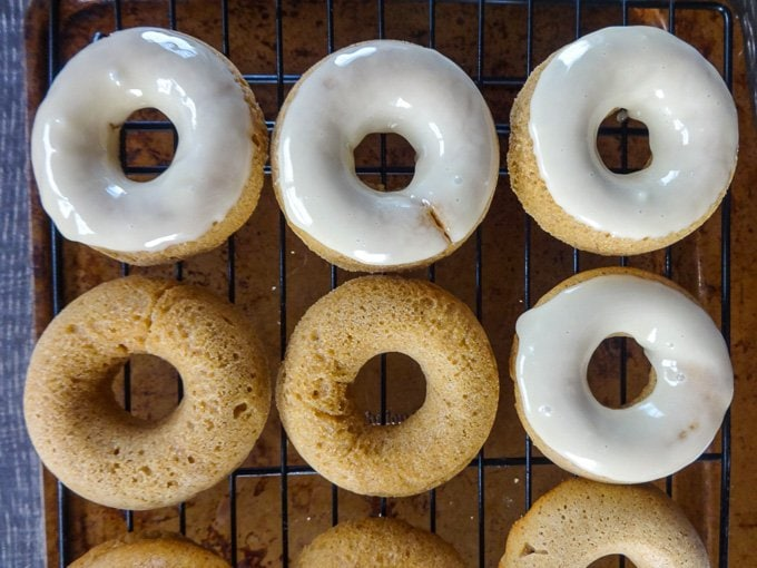 Apple Cider Donuts with Maple Glaze are the perfect fall harvest treat. www.sweetcayenne.com