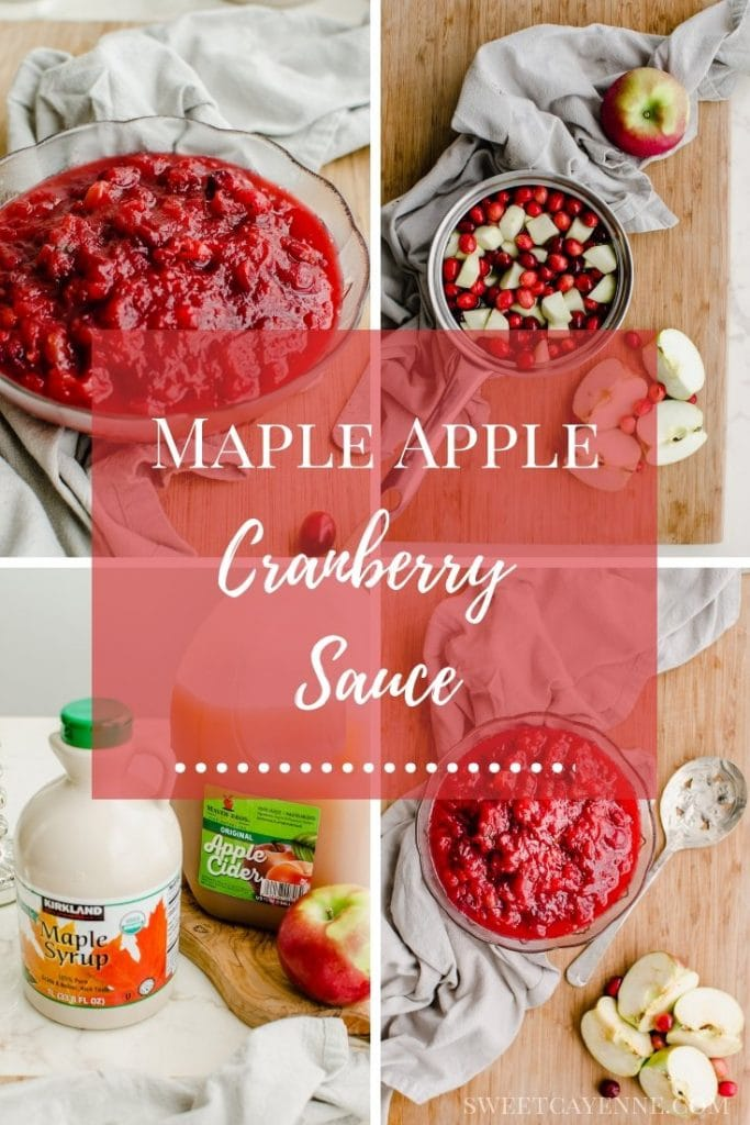 A picture collage of process photos for making apple cranberry sauce.