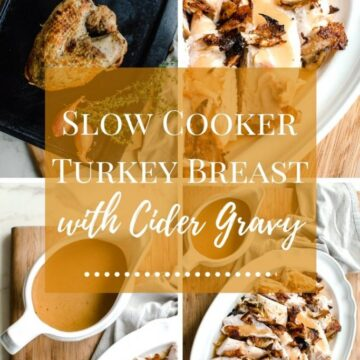 A picture collage of slow cooker turkey breast photos with text overlay.