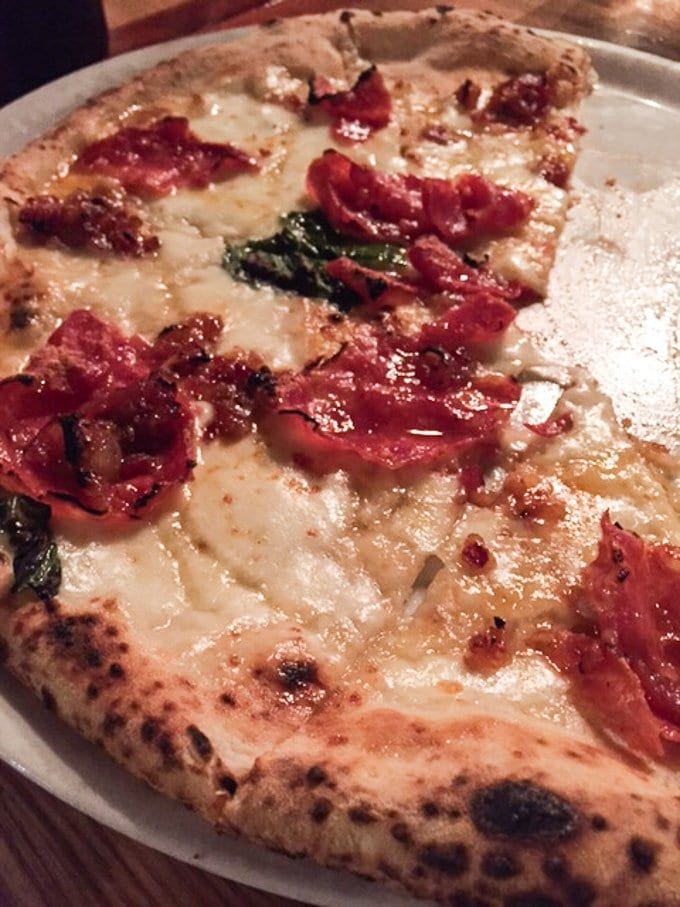 The lip-smacking good off-the-menu Honey Badger Pizza from Cane Rosso - it's so good I dream about it!