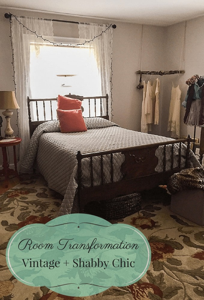 A picture journal of a step-by-step room transformation using vintage, shabby chic home decor.