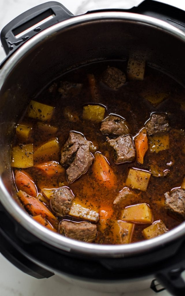 An Instant Pot filled with beef stew.