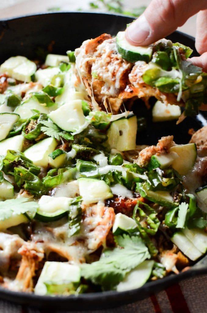 BBQ Chicken Skillet Nachos www.sweetcayenne.com