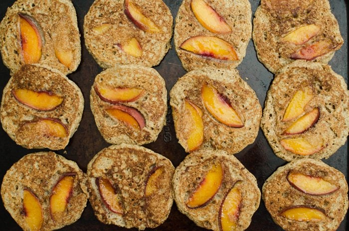 Bruleed Peach Cornmeal Cakes are a great brunch or breakfast option for the late summer days. They have a nutty flavor and delicious caramelized peaches cooked right into the pancake!