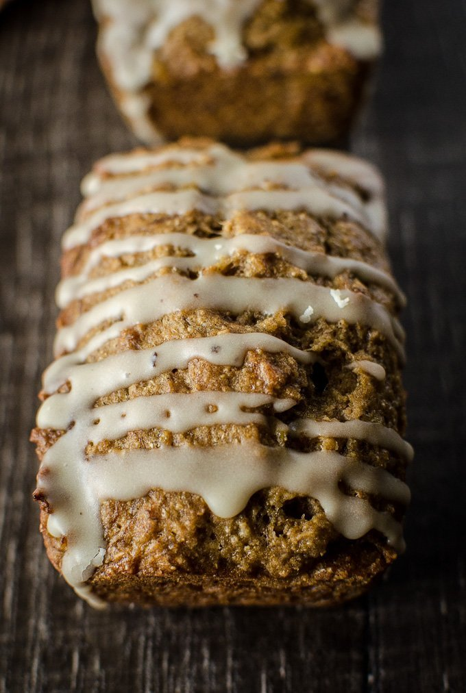 Mini Banana Breads with Maple Glaze {Whole Grain!}