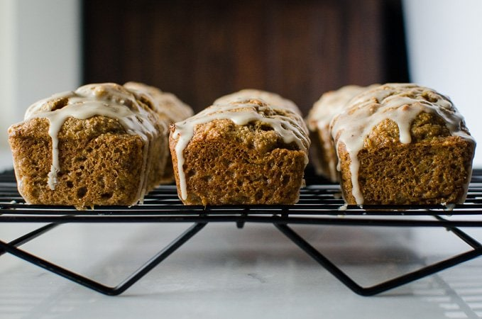 Mini Banana Breads with Brown Butter Maple Glaze are a perfect fall version of this favorite quick bread. The mini size makes them great for gift-giving!