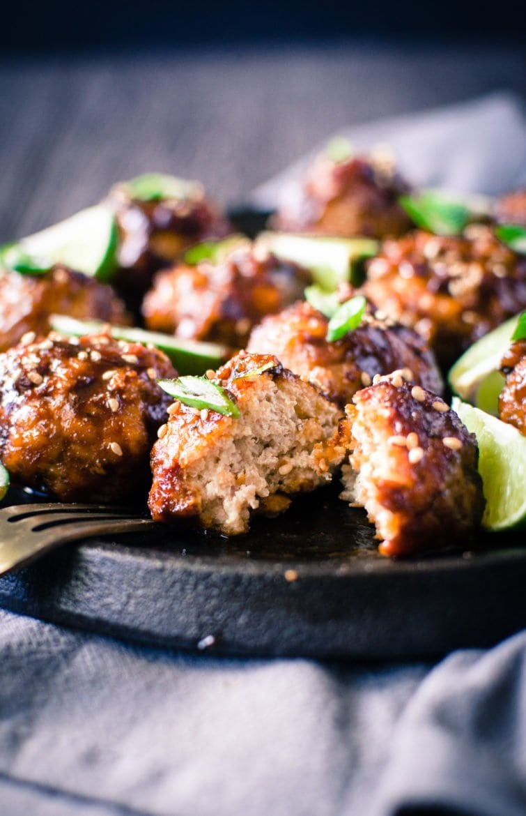 Asian BBQ Chicken Meatballs are a flavor explosion waiting to happen in your mouth! The perfect combo of sweet and savory - make these for the Super Bowl or an Oscar-watching party!