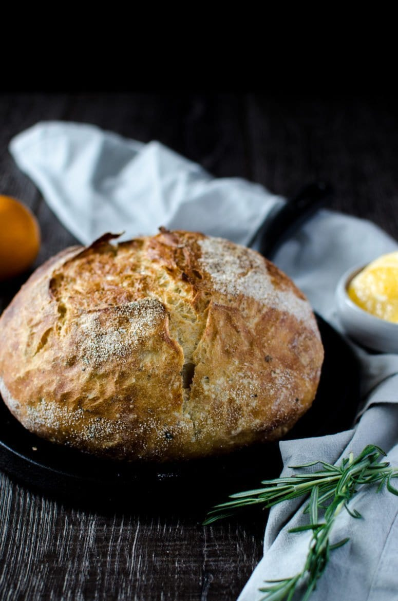 Meyer Lemon Rosemary Bread – Baked in a Dutch Oven!