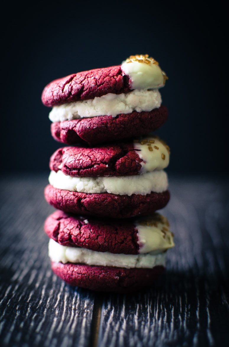 Red Velvet Sandwich Cookies {aka what you really should do with cake mix}