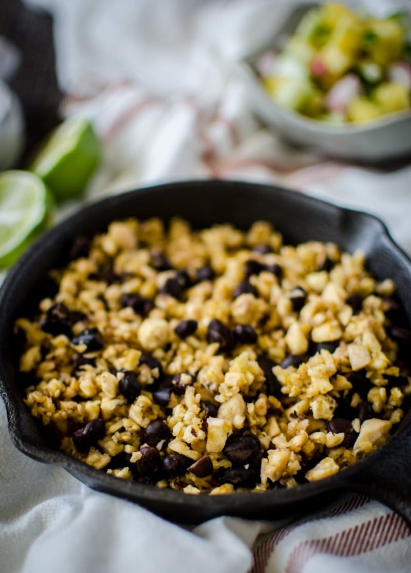 Plantain rice with black beans is an easy side dish you can make for any Mexican dinner and it also is a great taco or burrito filling!