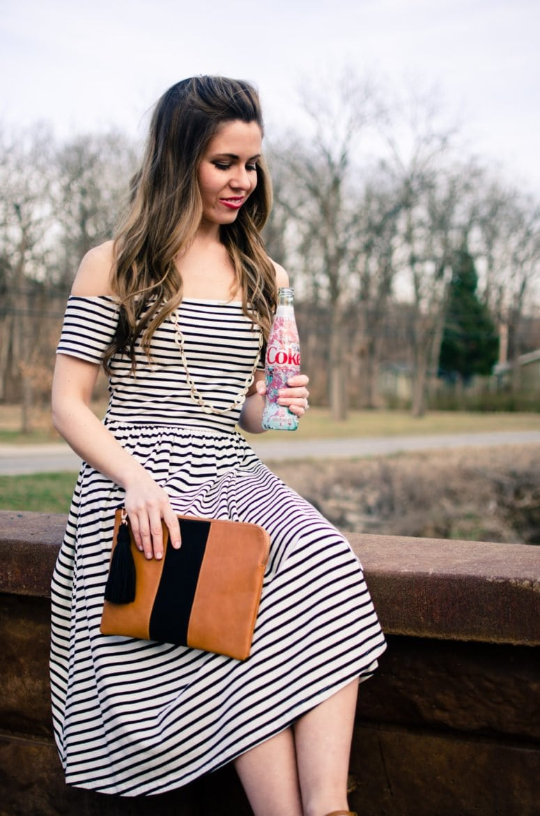 The perfect striped dress to freshen up my wardrobe for spring featuring Diet Coke and pieces from the Who What Wear collection at Target. #sponsored #MyUnique4