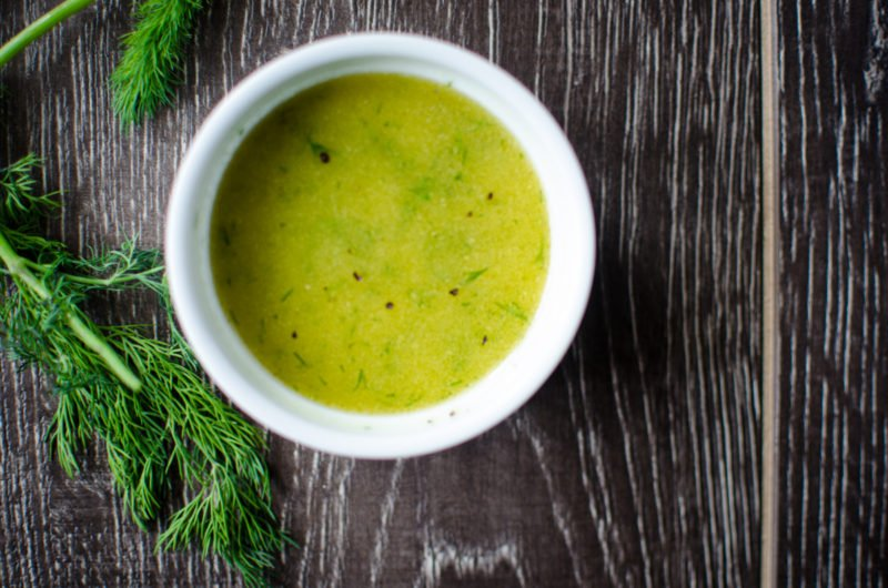 A bright and citrusy vinaigrette of fresh lemon, dill and Dijon pairs perfectly with spring garden veggies in this easy-to-make dressing.