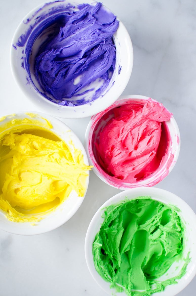 Colorful neon shades of buttercream frosting make the perfect sugar cookie topping!