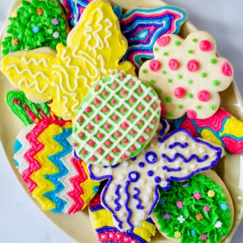 Lemon zest-laced cutout cookies iced with colorful buttercream frosting are a festive treat for Spring or Easter!