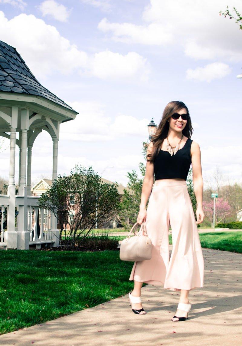 Blush Pink Culottes + Cropped Shell