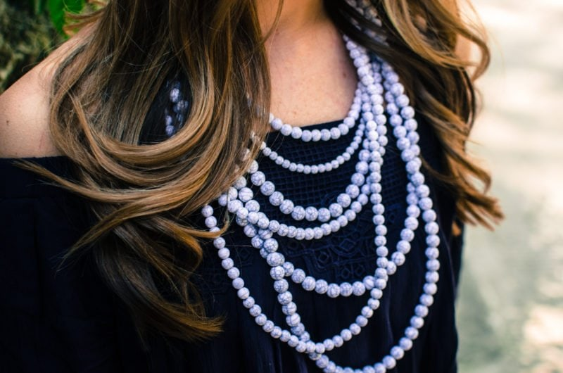 This layered necklace from Bauble Bar features cracked marble painted beads.