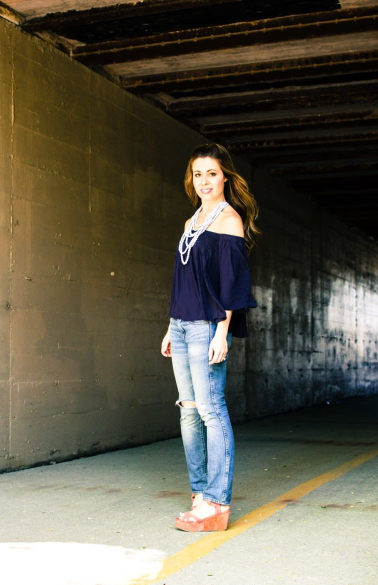 This spring and summer outfit is casual and cute for a day of running around town - off the shoulder top with crochet detail and layered marble-print beads. Style, fashion, and outfit inspiration.