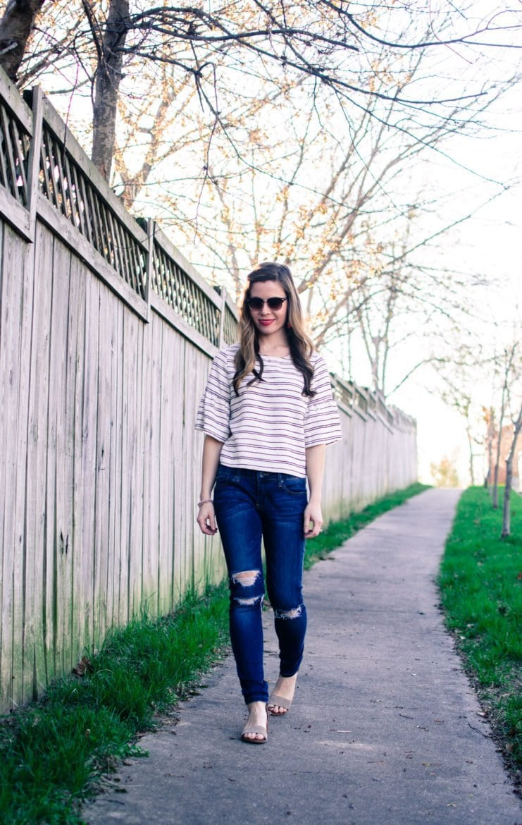 Sweet Chic: Striped Ruffle-Sleeved Blouse with Tassel Accessories