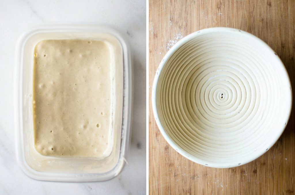 Left photo - dough in a container rising. Right photo - a bread rising basket.