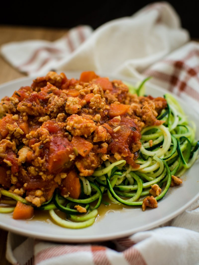 Zucchini Noodles with Chicken Bolognese is an easy, veggie-loaded recipe you can make on weeknights for a healthy and super-satisfying dinner that the family will love!