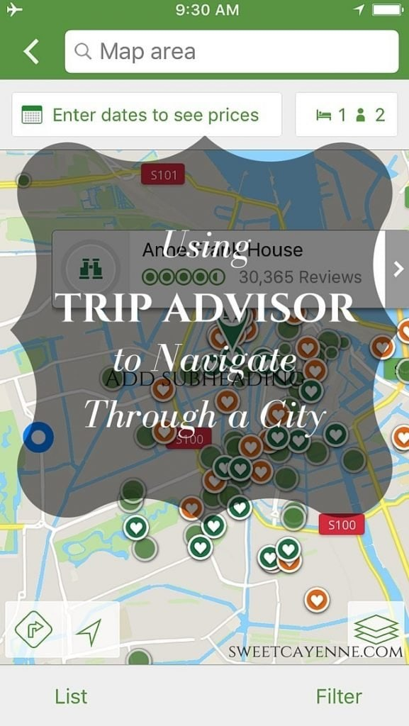How I use Trip Advisor to plan travel and navigate through a city without a Wifi connection.