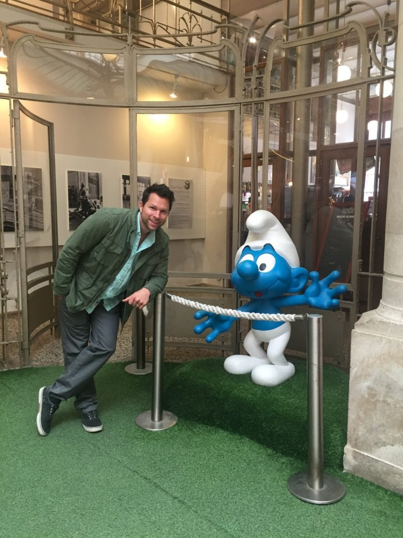 Ryan with the Smurf in Brussels, Belgium