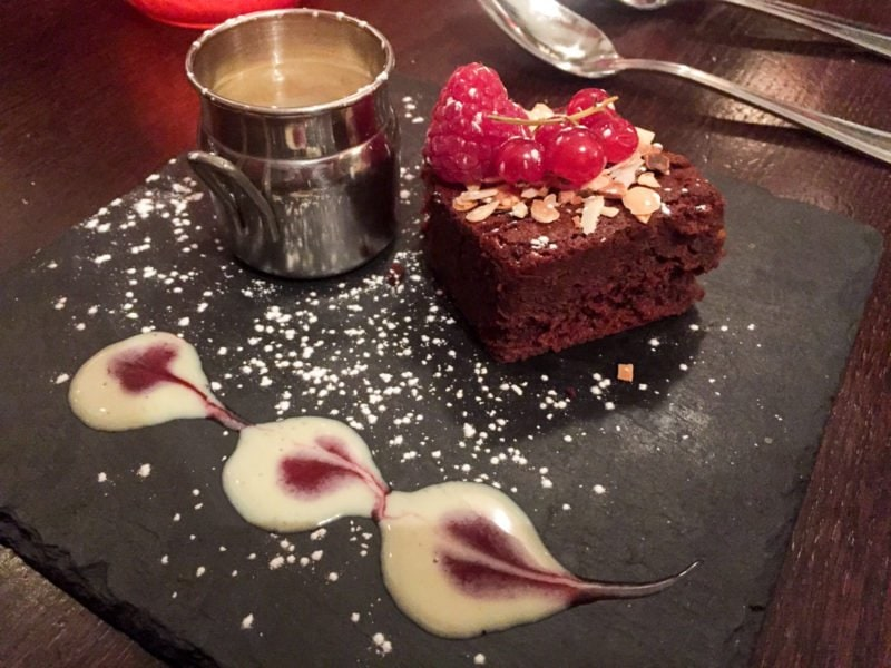 Flourless chocolate cake with creme anglaise in Paris, France