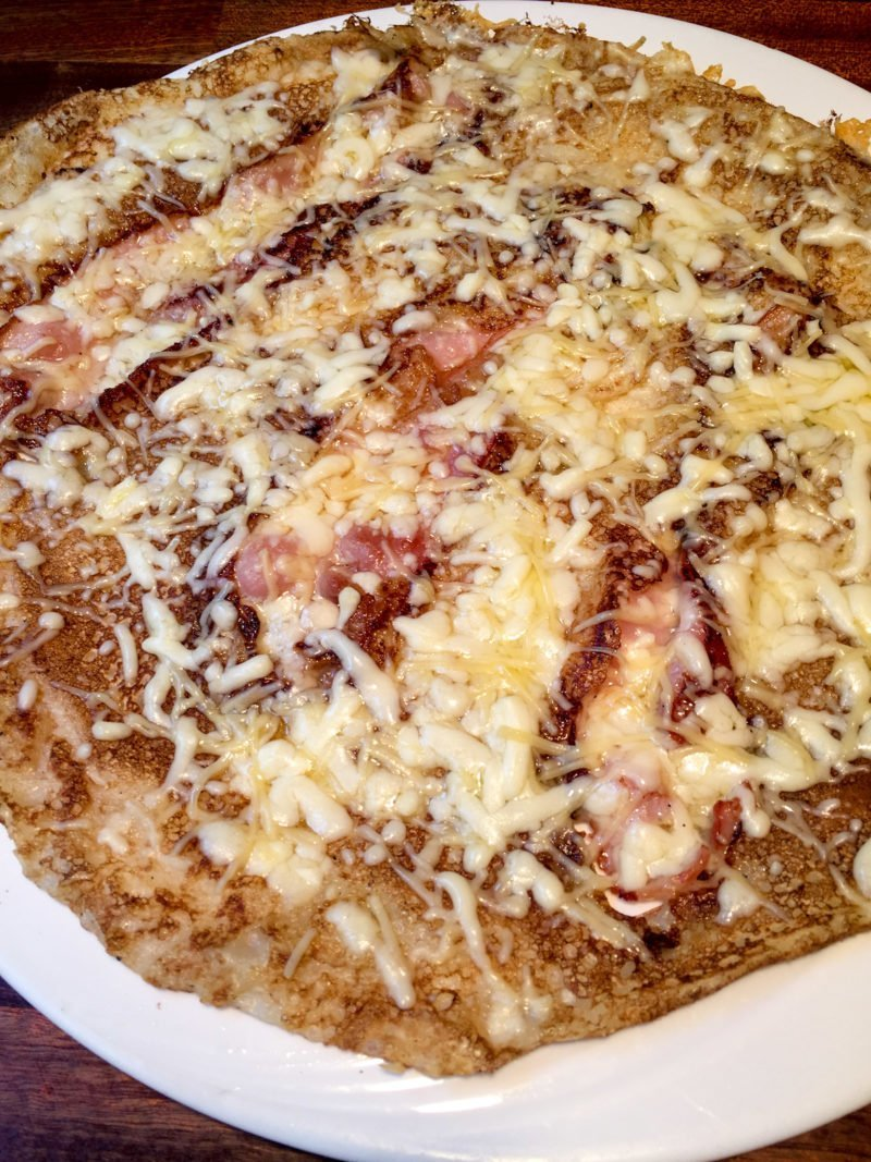 Bacon and cheese Dutch pancake at the Four Pillars in Amsterdam
