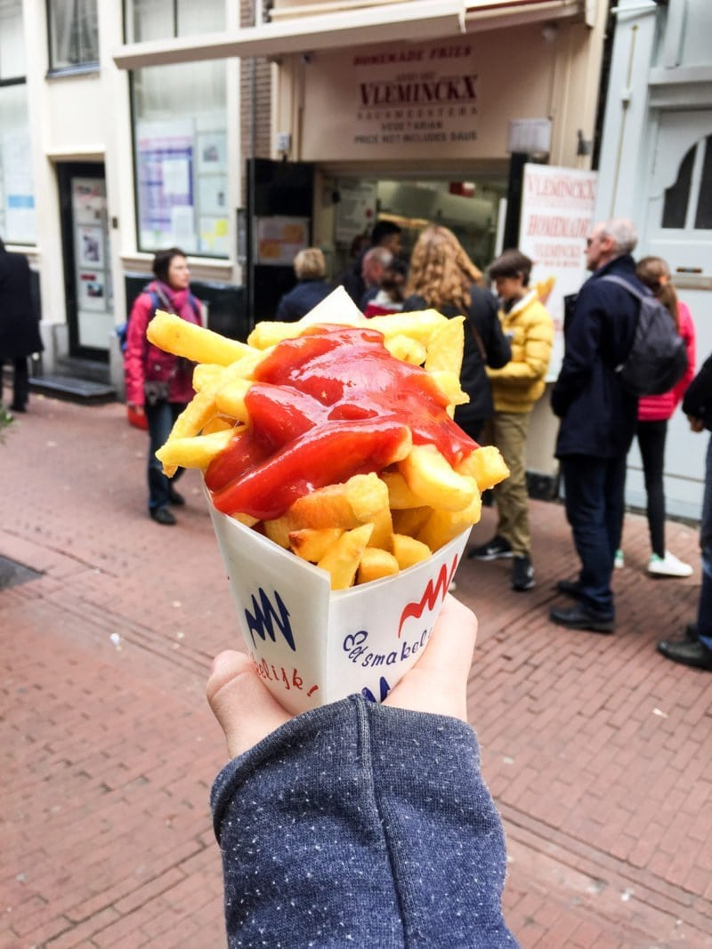Famous Dutch frites with curry ketchup in Amsterdam