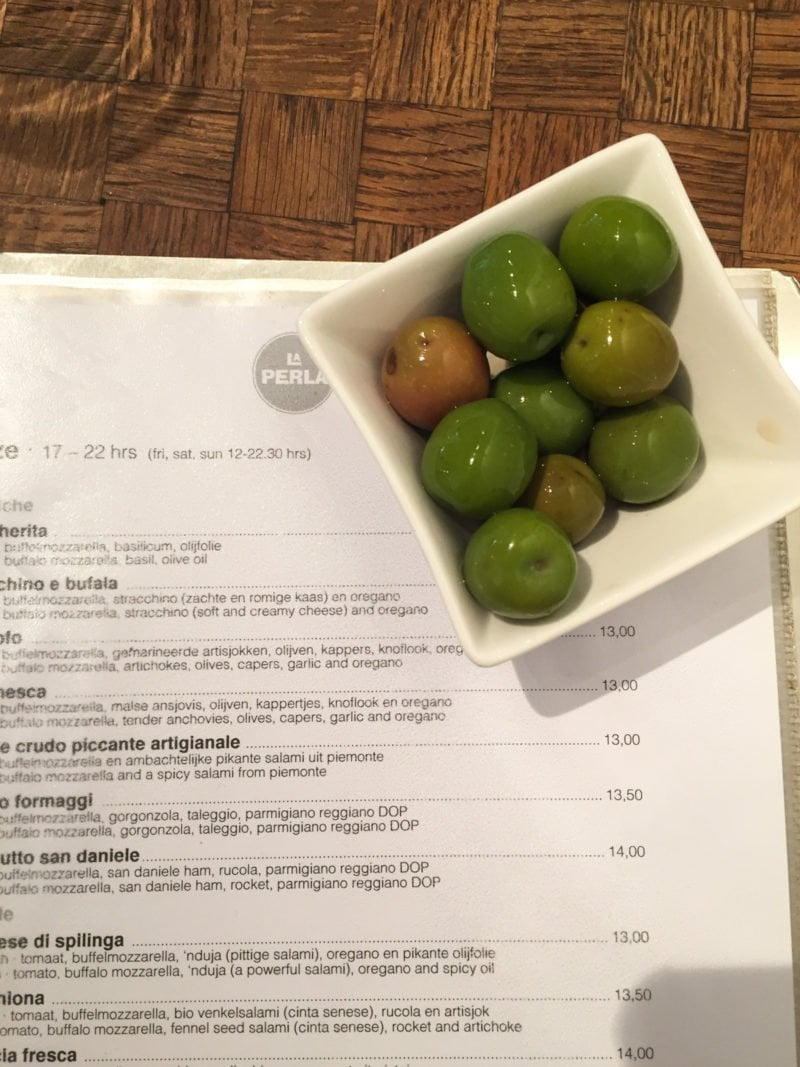 The best olives at La Perla in Amsterdam