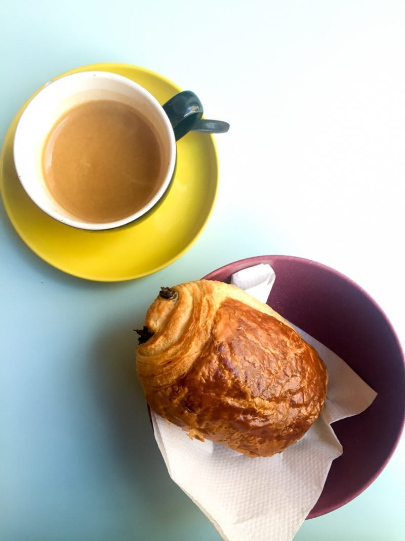 Pan au Chocolat with a Cafe Americano in Brussels, Belgium