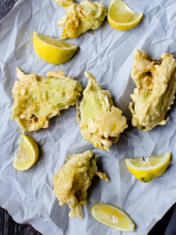 Zucchini Flowers are lightly breaded and fried in this favorite appetizer recipe from Italy.