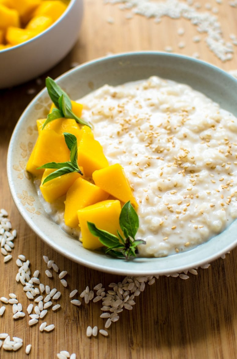 This recipe for creamy coconut rice pudding is made with coconut milk, arborio rice, and subtly steeped with Thai basil. It's such a refreshing summer dessert!