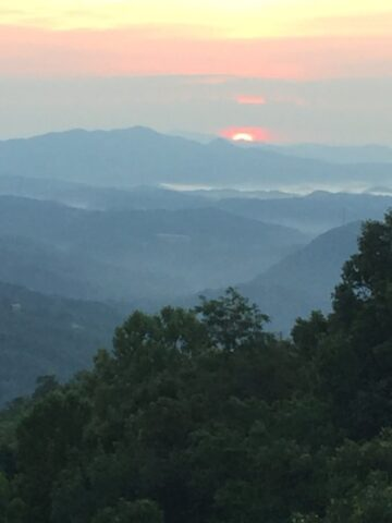 A view from our cabin porch of the great Smoky Mountains
