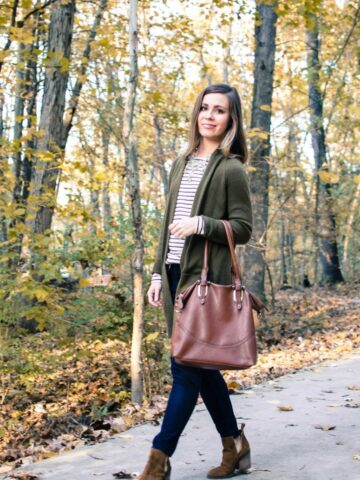 My favorite fall clothing basics for chic style that's easy to wear and mix and match. Oversize cardigan, dark wash denim, cognac tote, striped tee, cognac booties.