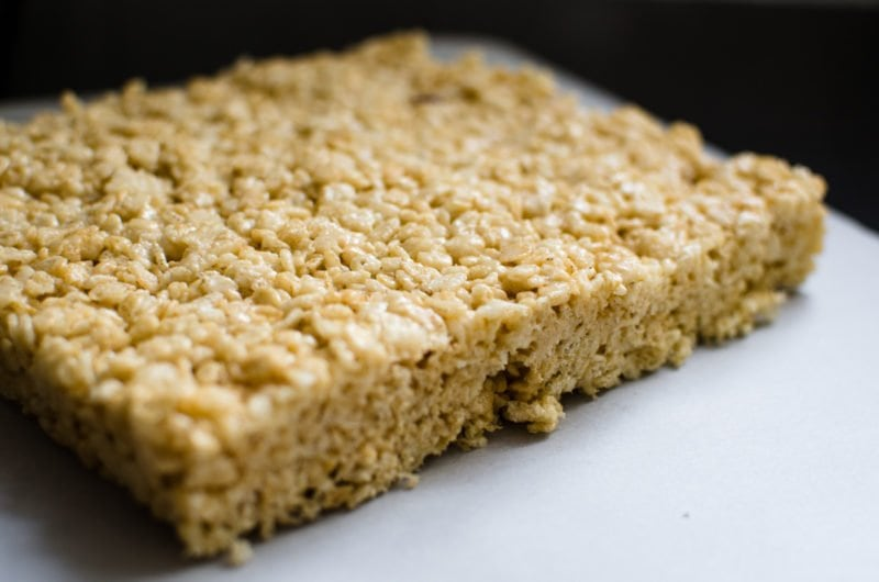 This recipe for Salted Caramel Crispy Rice Treats is the perfect combination of salty + sweet, buttery, crunchy goodness!